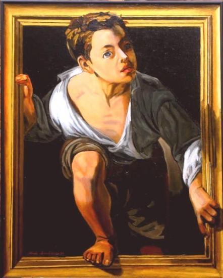 L'Enfant du Cadre d'après un peintre espagnol (huile sur toile 60X70).