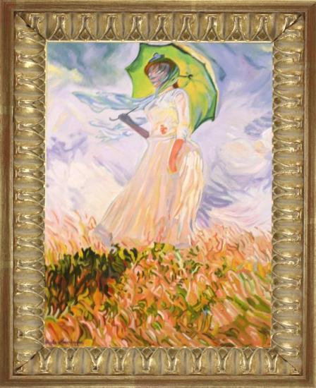 La jeune Femme à l'Ombrelle d'après MONET (huile 50X70)