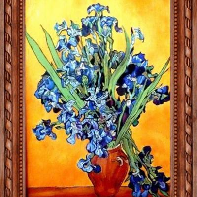 Bouquet d'Iris dans un Vase d'après VAN GOGH.