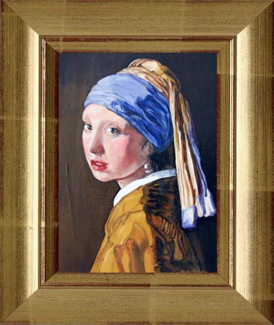 La jeune Fille à la Perle d'après Johannès VERMEER (huile sur toile 35