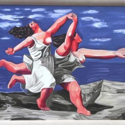 DEUX FEMMES COURANT SUR LA PLAGE d'après PICASSO  (40X50)