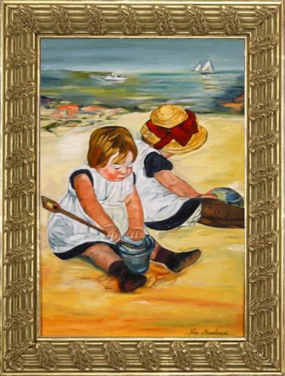 Enfants sur la Plage d'après Mary CASSATT